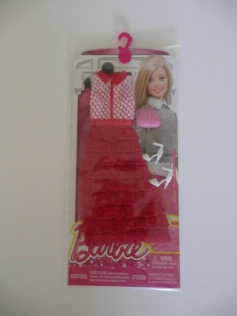 Barbie Doll Fashionistas Clothing Fashion Complete Look Red Ruffles Dress
