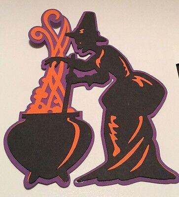 Witch & Cauldron Halloween Die Cut Handmade Scrapbook Embellishment