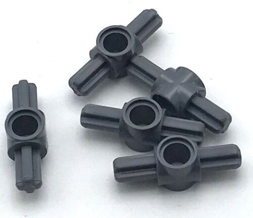 Lego 5 New Dark Bluish Gray Technic Axle and Pin Connector Hub with 2 Axles