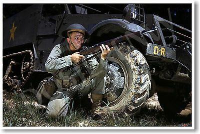 WWII Infantryman in front of M3 Half-Track - NEW Vintage Reprint POSTER