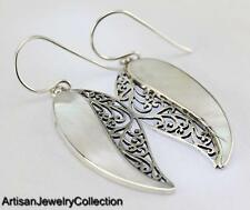 MOTHER OF PEARL BALI EARRINGS 925 SILVER ARTISAN JEWELRY COLLECTION P111