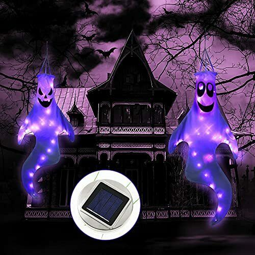Halloween Ghost Windsocks, Solar Power supply, 1PCS Flag Ghost Sign with Purple