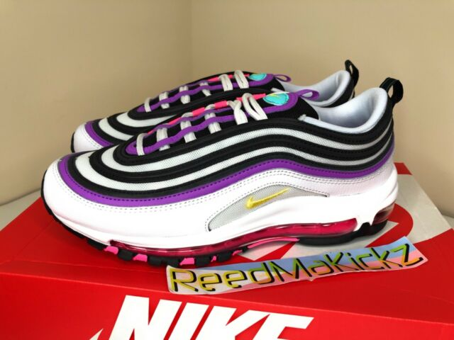 Womens Nike Air Max 97 Athletic Shoes White Dynamic Yellow Pink 8.5 95 270