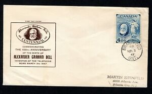 CANADA FIRST DAY COVER - 1947 - ALEXANDER GRAHAM BELL CACHET