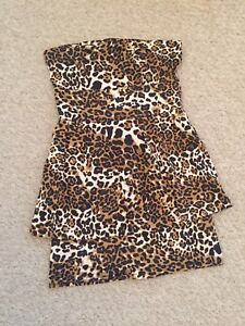 e6e111e4df Image is loading NEW-LOOK-ANIMAL-PRINT-STRAPLESS-DRESS-Size-12