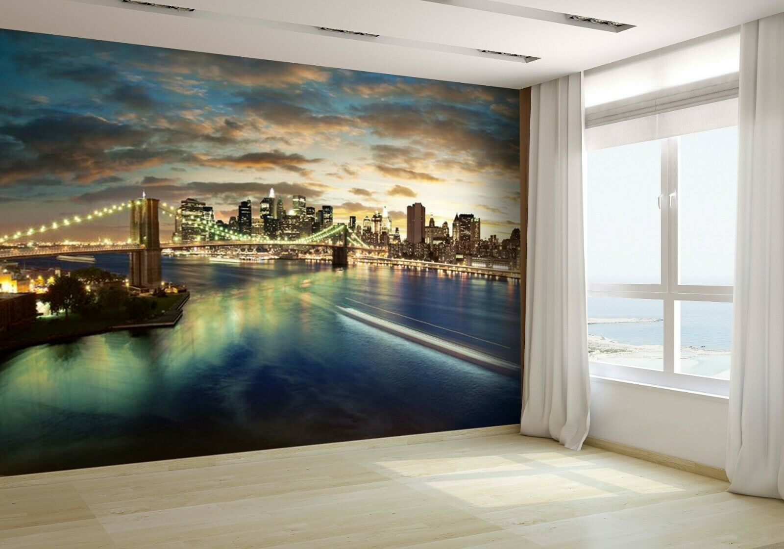 New York Cityscape - After Sunset Wallpaper Mural Photo 9316759 budget paper