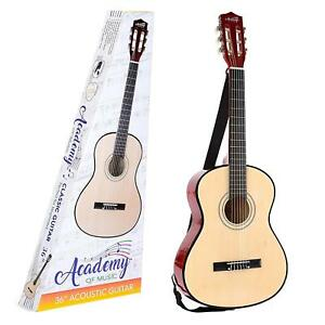 academy of music 36 3 4 size acoustic guitar for kids adults beginners students ebay. Black Bedroom Furniture Sets. Home Design Ideas