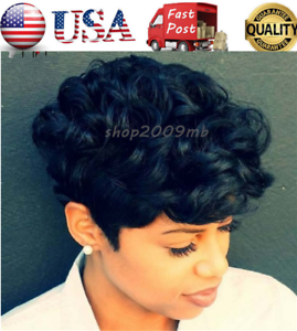 Women Curly Short Wigs Black Brown Pixie Cut Synthetic Hair Wigs for ... 80572a99f