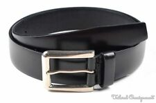 PRADA Solid Black Smooth Leather Silver Buckle Mens Luxury Dress Belt - 95 / 38