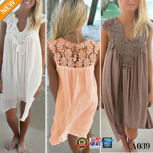 BOHO-Ladies-Sleeveless-Party-Tops-Womens-Loose-Summer-Beach-Lace-Dress-8-18-A039