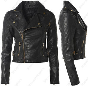 Size 8 10 12 14 16 NEW Womens BIKER JACKET FAUX LEATHER Ladies ZIP ...