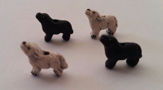 2 Peruvian MINI Black White Wolves Wolf Earring Beads