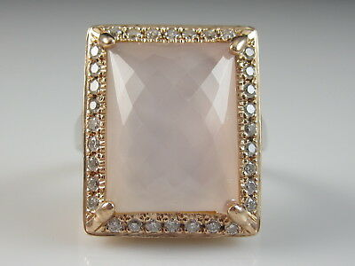 14K Rose Quartz Diamond Ring Pink White Gold Fine Jewelry Two-Tone Size 5.5