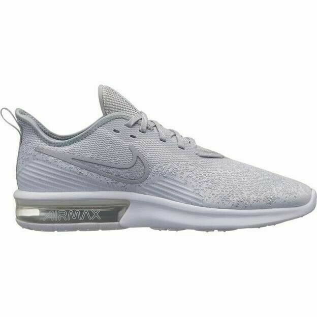 Nike Air Max Sequent 4 Running Shoes White Gray AO4485 100 Men's NWOB