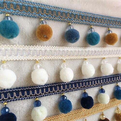 1M Pom Pom Balls Beads Curtain Lace Tassel Fringe Trim Ribbon Upholstery Edging