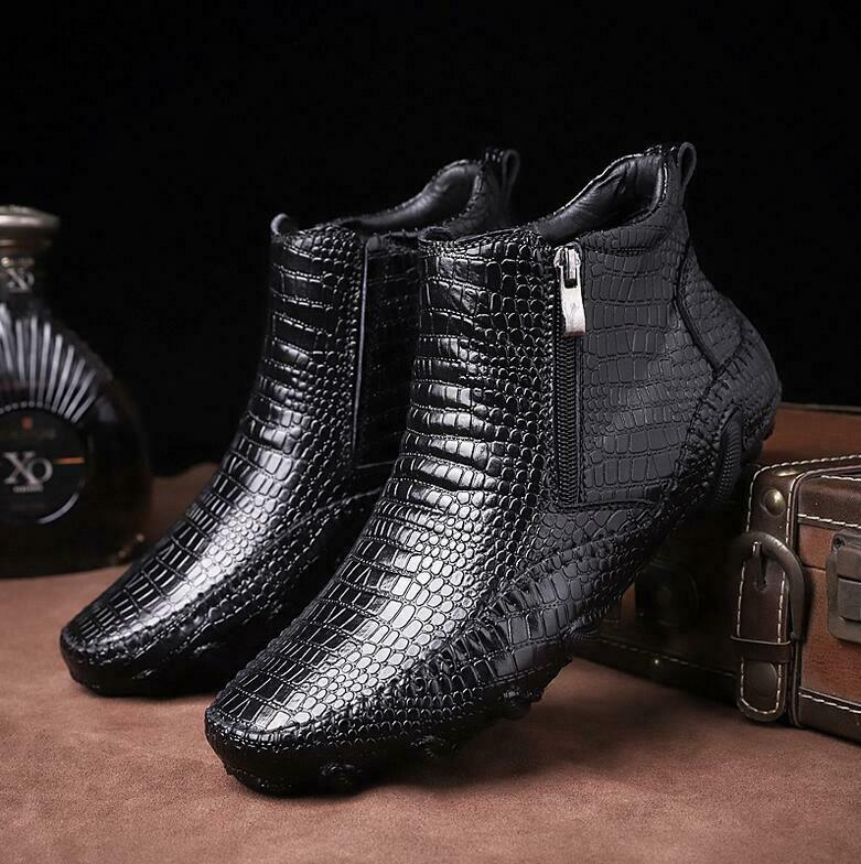 Mens genuine Leather Boots Alligator High Top Dress Formal Casual shoes Sneakers