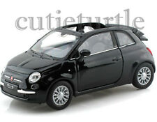 """4.25"""" Welly 2010 Fiat 500C Convertible 1:32 Diecast Toy Car Black"""