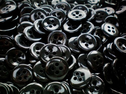 18mm 28L Negro 4 agujero Pulido Botones Craft Abrigo Chaqueta Niños Costura S52