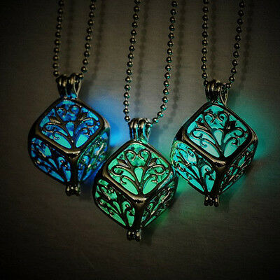 Hollow Square Tree of Life Glow in Dark Pendant Luminous Locket Necklace Jewelry