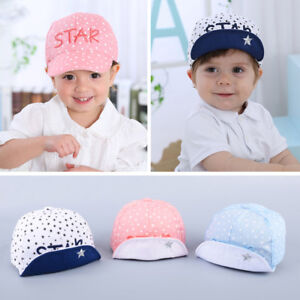 da0760dccac Baby Kids Visor Cotton Baseball Cap Newborn Boy Girl Star Letter ...