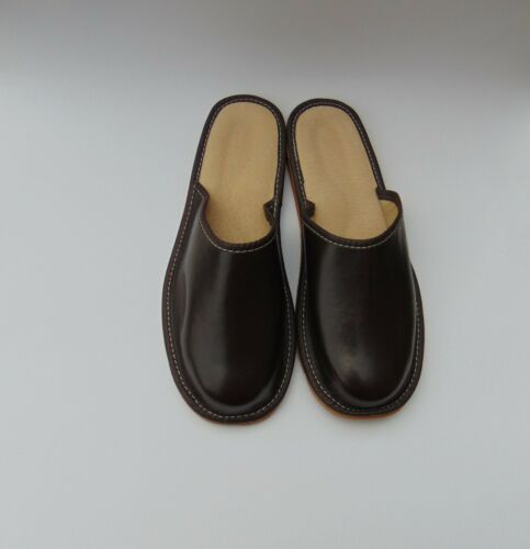 Mens Brown Real Leather Slippers *EU HAND MADE PRODUCT*size 10