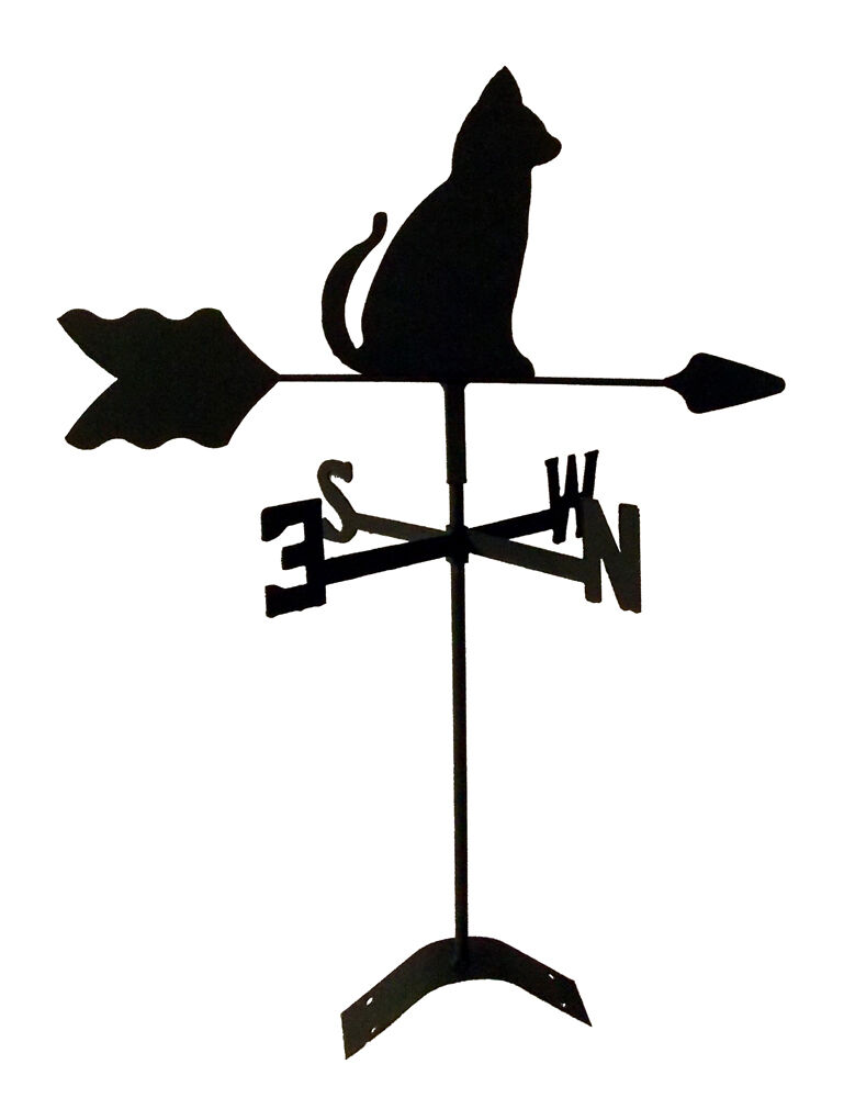 sitting cat roof mount weathervane black wrought iron look made in usa TLS1007R