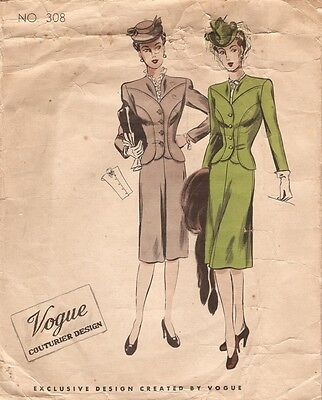 194Os WW2 Vintage VOGUE Sewing Pattern B32 SUIT-JACKET SKIRT & DICKEY (1121)