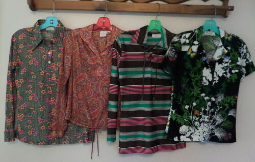 Vintage 70s Lot of 4 MOD Poly Tops Shirts~Butterfl