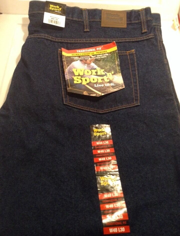 Work n' Sport Denim bluee Jeans Traditional Fit  48 X 30 NWT