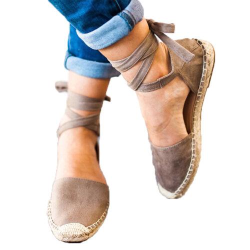 Women Stud Flat Heel Summer Holiday Espadrilles Ankle Strap Sandals Shoes Size