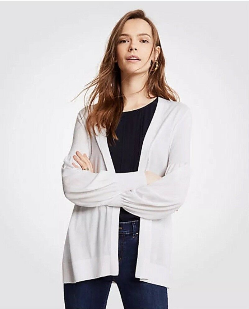 Ann Taylor Womens Size Large Bubble Sleeves Open Front Cardigan Sweater In White