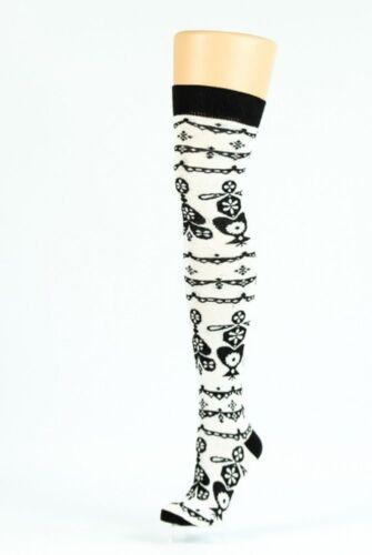 flocon de neige sur genou motif chaussette en noir et crème Mesdames Fair Isle