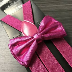 Metallic Black Glitter Suspenders and Bow Tie Matching Set Wedding Prom Adult