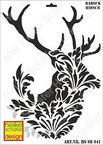 Schablone-Stencil-A3-105-0941-Barock-Hirsch-Neu-Heike-Schaefer-Design