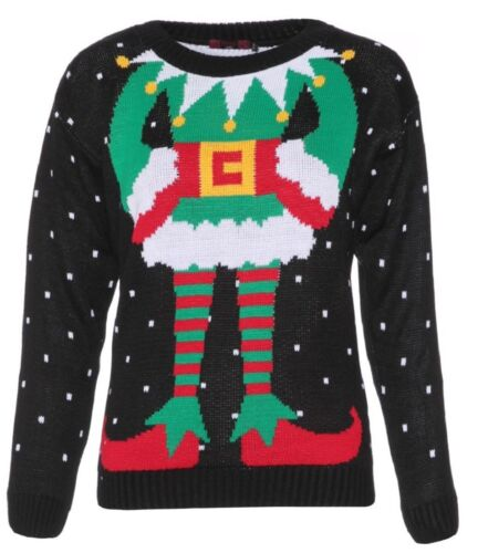 Womens Celeb Inspired Xmas Sweater ELF Body Christmas Knitted Jumper Top UK 8-30