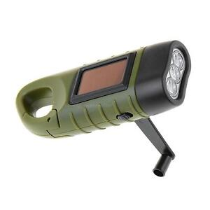Solar Powered Hand Crank Flashlight Torch Rechargeable LED Emergency Light Well
