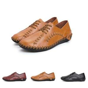 New Mens Flats Breathable Leisure Leather Shoes Brogue Pointy Toe Lace up Casual