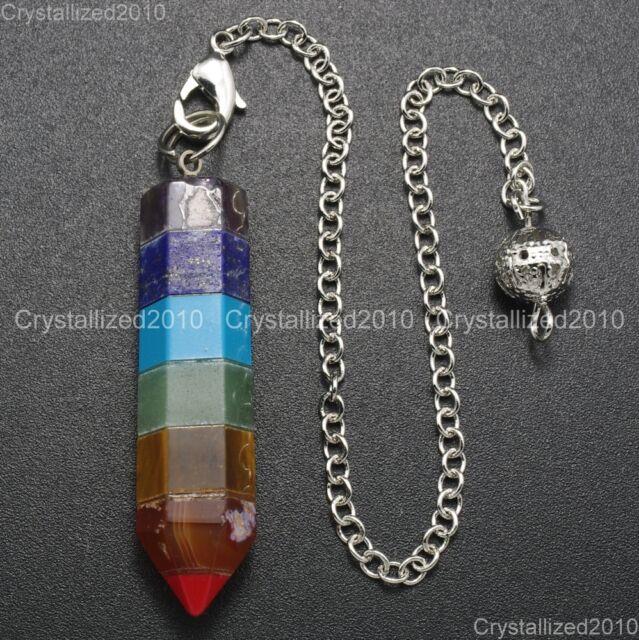 Natural Gemstone Hexagonal Pointed Rainbow Layered Reiki Chakra Healing Pendant