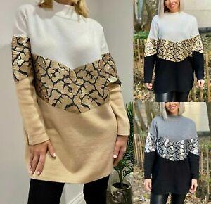 Damen-Fein-Strick-Pailletten-Schlangenoptik-zweifarbig-Oversized-Pullover-Kleid-Top