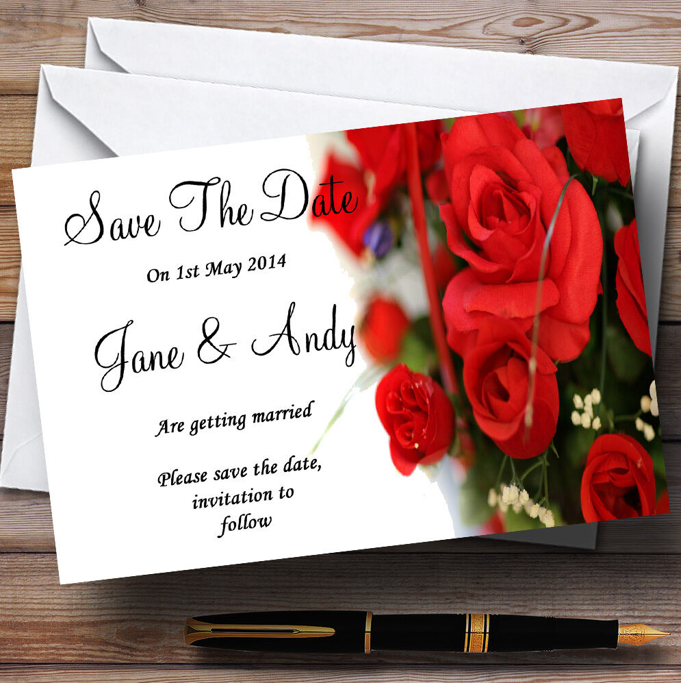 Roses rouge roFemmetique save mariage Personnalisé Cartes save roFemmetique the date 868b03