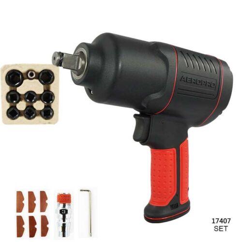 "Pneumatic Impact Wrench 1//2/"" Air Pressure Wrench Gun Tool Torque 450ft-lb"