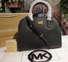 NWT MICHAEL Michael Kors BLACK SAFFIANO Leather LARGE Satchel Crossbody Bag $398