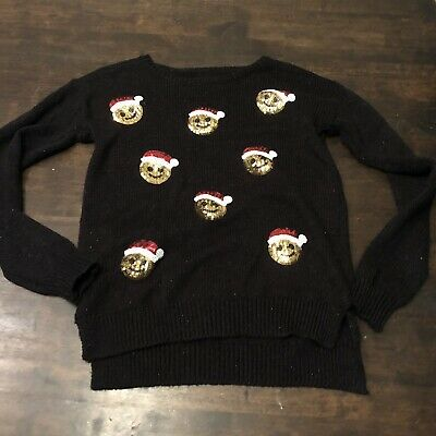 NWT Justice Black SEQUIN Sweater HAPPY Girls size 12