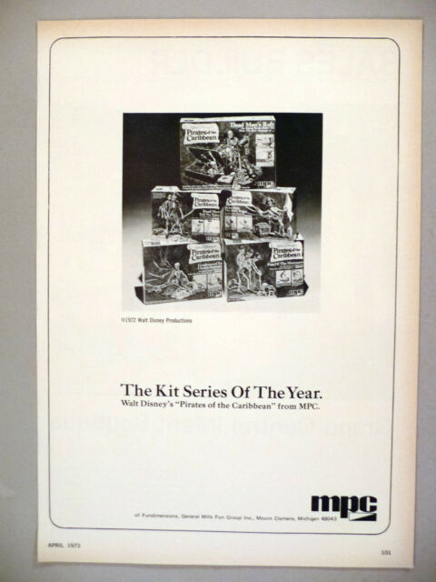 "Walt Disney's ""Pirates of the Caribbean"" Model Kits PRINT AD - 1973 ~ hobby kit"