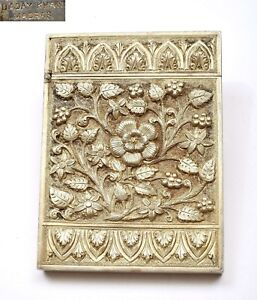 1930's Anglo Indian India Persian Solid Silver Flower Card Case Mk 127 Gram