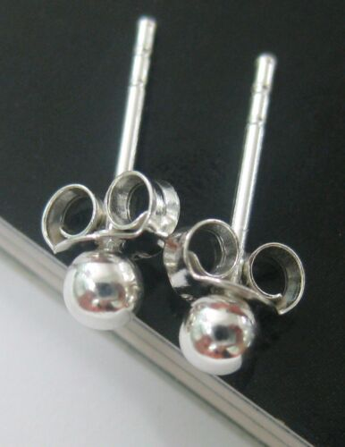 """/""""BUY 4 GET 1 FREE/"""" UNISEX 925 sterling silver 2mm to 12mm BALL Studs Earrings"""