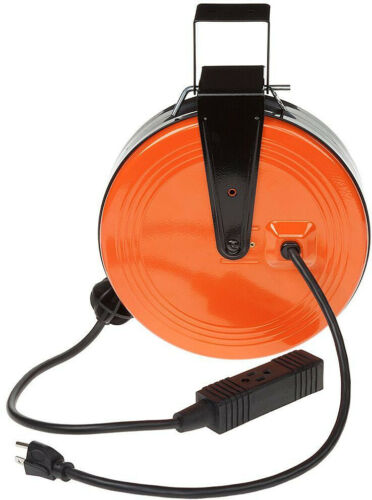 Retractable Extension Cord Reel with 3-Outlets Heavy Duty  10Amp Workshop NEW