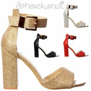 d4e674f42ed Women s Peep Toe Low Block Heels Ankle Cuff Party Shoes Silver Gold ...