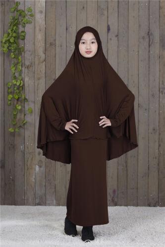 2pcs Muslim Child Abaya Kids Girls Prayer Long Maxi Skirt+Full Cover Hijab Arab