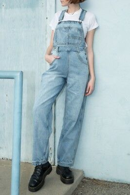 brandy melville beige relax fit cotton Hayley denim overalls jumpsuit NWT sz S